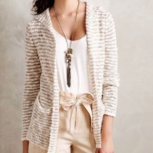 ANTHROPOLOGIE moth cardigan | gold cream striped